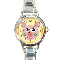 Luck Lucky Pig Pig Lucky Charm Round Italian Charm Watch by Celenk