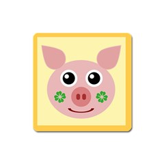 Luck Lucky Pig Pig Lucky Charm Square Magnet by Celenk