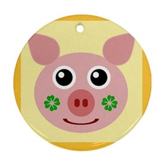 Luck Lucky Pig Pig Lucky Charm Round Ornament (two Sides) by Celenk