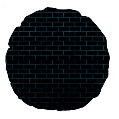 Brick1 Black Marble & Teal Leather (r) Large 18  Premium Round Cushions by trendistuff