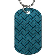 Brick2 Black Marble & Teal Leather Dog Tag (two Sides) by trendistuff