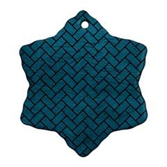 Brick2 Black Marble & Teal Leather Ornament (snowflake) by trendistuff