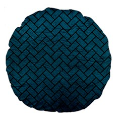 Brick2 Black Marble & Teal Leather Large 18  Premium Round Cushions by trendistuff