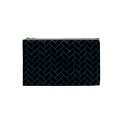Brick2 Black Marble & Teal Leather (r) Cosmetic Bag (small)  by trendistuff