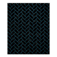 Brick2 Black Marble & Teal Leather (r) Shower Curtain 60  X 72  (medium)  by trendistuff