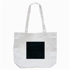 Brick2 Black Marble & Teal Leather (r) Tote Bag (white) by trendistuff