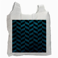 Chevron1 Black Marble & Teal Leather Recycle Bag (one Side) by trendistuff