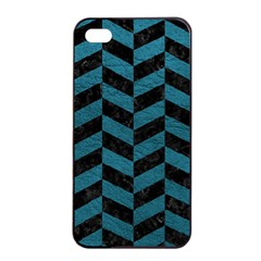 Chevron1 Black Marble & Teal Leather Apple Iphone 4/4s Seamless Case (black) by trendistuff