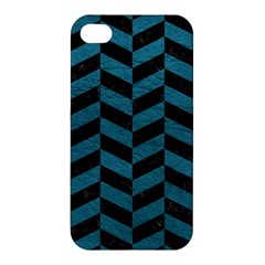 Chevron1 Black Marble & Teal Leather Apple Iphone 4/4s Hardshell Case by trendistuff