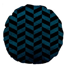 Chevron1 Black Marble & Teal Leather Large 18  Premium Round Cushions by trendistuff