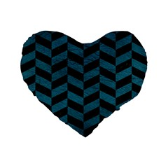 Chevron1 Black Marble & Teal Leather Standard 16  Premium Flano Heart Shape Cushions by trendistuff