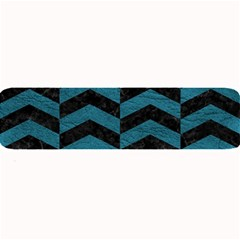Chevron2 Black Marble & Teal Leather Large Bar Mats by trendistuff