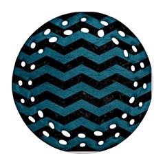 Chevron3 Black Marble & Teal Leather Ornament (round Filigree) by trendistuff