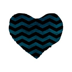 Chevron3 Black Marble & Teal Leather Standard 16  Premium Flano Heart Shape Cushions by trendistuff
