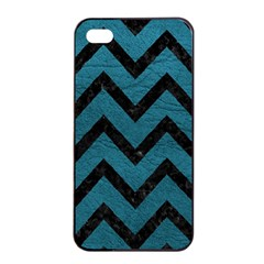 Chevron9 Black Marble & Teal Leather Apple Iphone 4/4s Seamless Case (black) by trendistuff