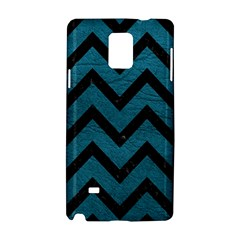 Chevron9 Black Marble & Teal Leather Samsung Galaxy Note 4 Hardshell Case by trendistuff