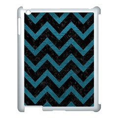 Chevron9 Black Marble & Teal Leather (r) Apple Ipad 3/4 Case (white) by trendistuff