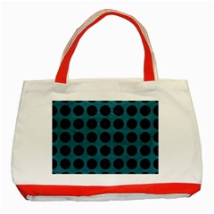Circles1 Black Marble & Teal Leather Classic Tote Bag (red) by trendistuff