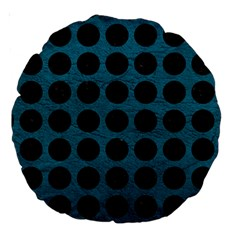 Circles1 Black Marble & Teal Leather Large 18  Premium Round Cushions by trendistuff