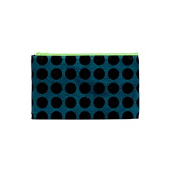 Circles1 Black Marble & Teal Leather Cosmetic Bag (xs) by trendistuff