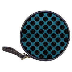 Circles2 Black Marble & Teal Leather Classic 20 Cd Wallets by trendistuff
