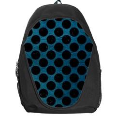 Circles2 Black Marble & Teal Leather Backpack Bag by trendistuff