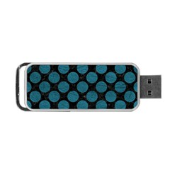 Circles2 Black Marble & Teal Leather (r) Portable Usb Flash (two Sides) by trendistuff