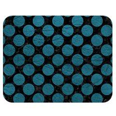 Circles2 Black Marble & Teal Leather (r) Double Sided Flano Blanket (medium)  by trendistuff