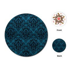 Damask1 Black Marble & Teal Leather Playing Cards (round)  by trendistuff
