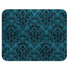 Damask1 Black Marble & Teal Leather Double Sided Flano Blanket (medium)  by trendistuff