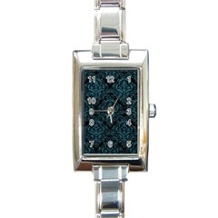 Damask1 Black Marble & Teal Leather (r) Rectangle Italian Charm Watch by trendistuff