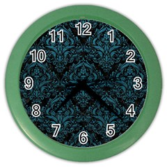 Damask1 Black Marble & Teal Leather (r) Color Wall Clocks by trendistuff
