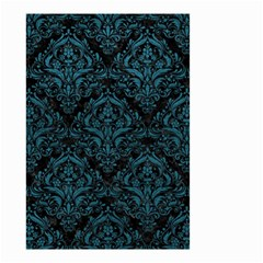 Damask1 Black Marble & Teal Leather (r) Small Garden Flag (two Sides) by trendistuff