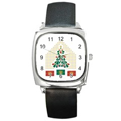Christmas Tree Present House Star Square Metal Watch by Celenk