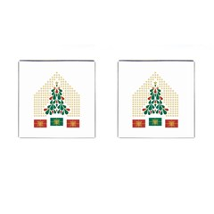 Christmas Tree Present House Star Cufflinks (square) by Celenk