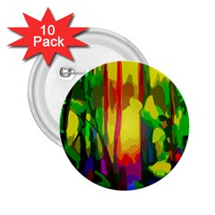 Abstract Vibrant Colour Botany 2 25  Buttons (10 Pack)  by Celenk