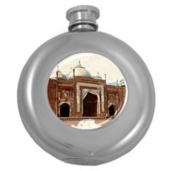 Agra Taj Mahal India Palace Round Hip Flask (5 Oz) by Celenk