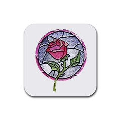 Beauty And The Beast Rose Rubber Square Coaster (4 Pack)  by Celenk