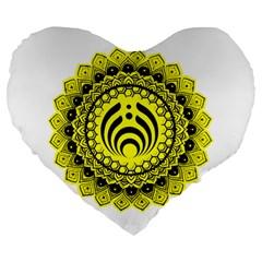Bassnectar Sunflower Large 19  Premium Heart Shape Cushions by Celenk