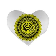Bassnectar Sunflower Standard 16  Premium Flano Heart Shape Cushions by Celenk