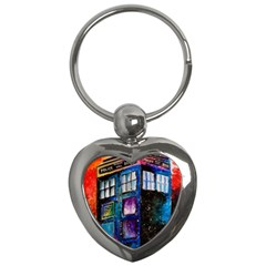 Dr Who Tardis Painting Key Chains (heart)  by Celenk