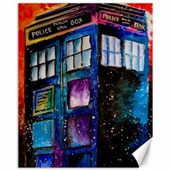 Dr Who Tardis Painting Canvas 16  X 20   by Celenk