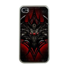 Black Dragon Grunge Apple Iphone 4 Case (clear) by Celenk