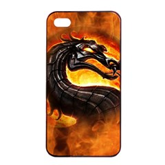 Dragon And Fire Apple Iphone 4/4s Seamless Case (black) by Celenk