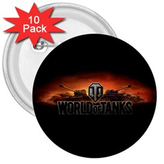 World Of Tanks 3  Buttons (10 Pack)  by Celenk