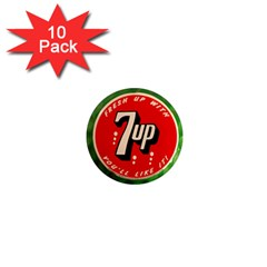 Fresh Up With  7 Up Bottle Cap Tin Metal 1  Mini Magnet (10 Pack)  by Celenk