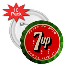 Fresh Up With  7 Up Bottle Cap Tin Metal 2 25  Buttons (10 Pack)  by Celenk