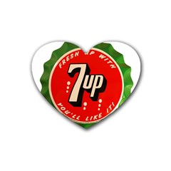 Fresh Up With  7 Up Bottle Cap Tin Metal Rubber Coaster (heart)  by Celenk