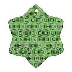 Classic Blocks,green Ornament (snowflake) by MoreColorsinLife