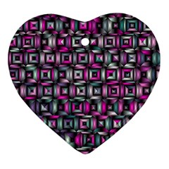 Classic Blocks,pink Combo Heart Ornament (two Sides) by MoreColorsinLife